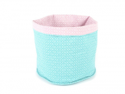 Fabric basket with a fish scale pattern - turquoise and pink