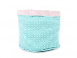 Panier en tissu motif coquille - Turquoise et Rose