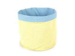 Stoffkorb mit Schuppenmuster - blau und gelb