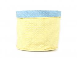 Panier en tissu motif coquille - Bleu et Jaune