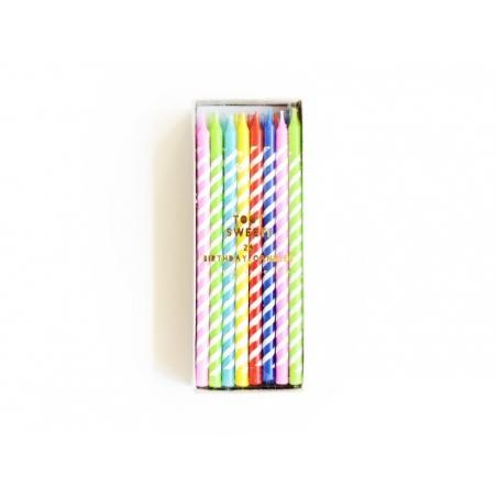 Acheter boîte de 24 bougies colorées - Jaune, violet, bleu, rouge, vert - 7,90€ en ligne sur La Petite Epicerie - Loisirs cr...