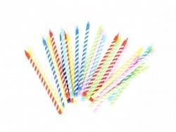 Pack of 24 candles in different colours - Yellow, violet, blue, red and green
