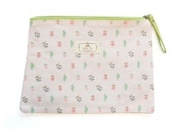trousse plate fleurie - rose