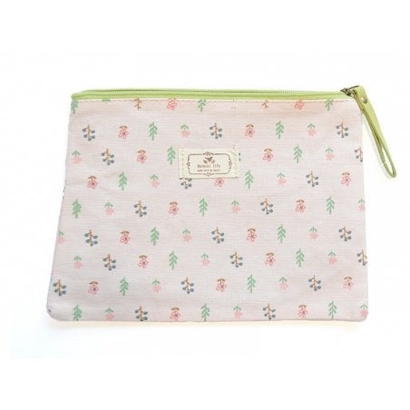 Flat pencil case with a floral pattern - pink