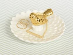 Zarte Halskette mit geometrischem Barrenanhänger - goldfarben