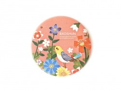 Pocket mirror with flowers and birds - coral red