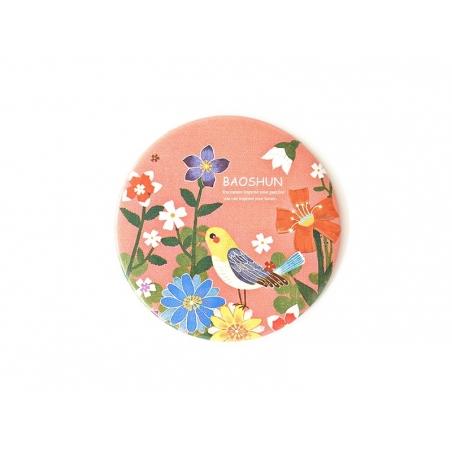 Miroir de poche fleurs et oiseau - corail