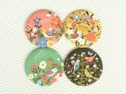Taschenspiegel mit Blumen und Vögeln - korallenrot