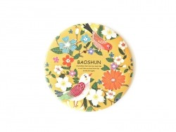 Pocket mirror with flowers and birds - yellow