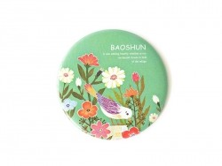 Pocket mirror with flowers and birds - green