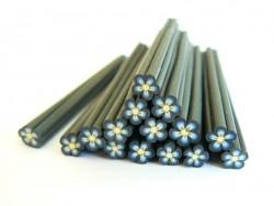 Cane fleur noire coeur bleu en pâte fimo - à découper en tranches