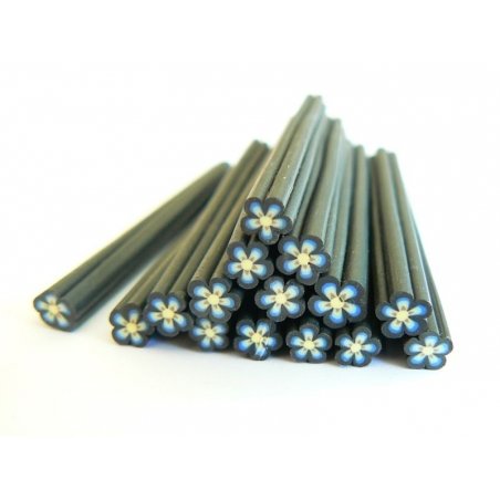 Flower cane - black, with a blue centre