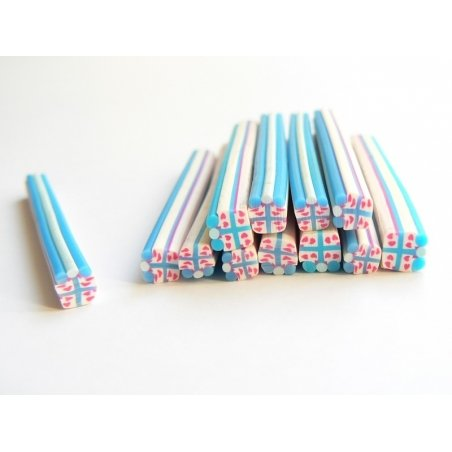 Acheter Cane cadeau bleu et blanc- en pâte polymère - à trancher - 0,99€ en ligne sur La Petite Epicerie - Loisirs créatifs