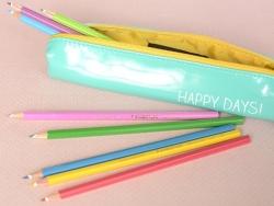 """Slim pencil case - """"Happy days!"""""""