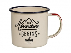 "Mug en émail ""The adventure begins"""