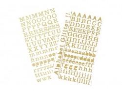 Stickers alphabets à paillettes dorés