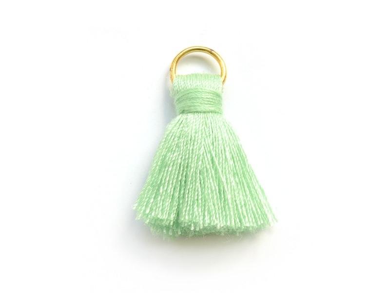 Pendentif pompon - vert d'eau
