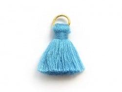 Pendentif pompon - bleu  - 1