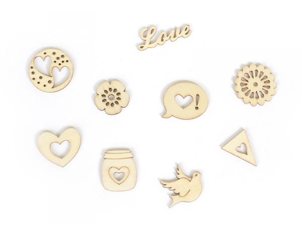 Small wooden shapes - Love