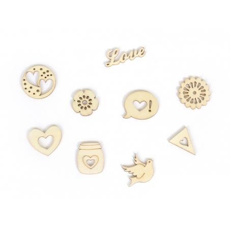 Mini silhouettes en bois - Love