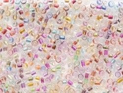Tube of 350 transparent beads with colourful inclusions - various colours