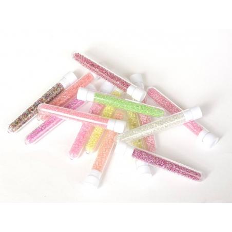Tube de 350 perles transparentes à inclusions colorées - rose dragée