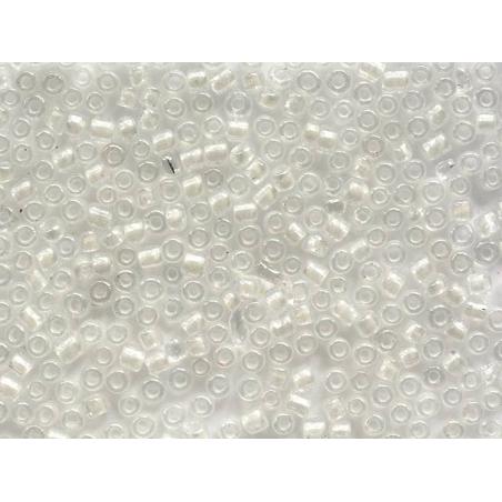 Tube de 350 perles transparentes à inclusions colorées - blanc