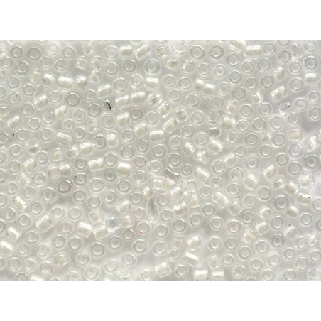 Tube of 350 transparent beads with colourful inclusions - white