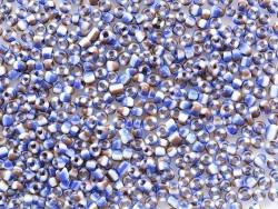 Röhrchen mit 350 gestreiften, dreifarbigen Perlen - marineblau/braun/weiß