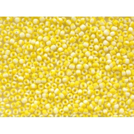 Tube of 350 striped two-tone beads - yellow/white