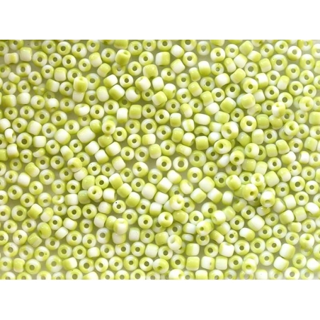 Tube de 350 perles rayées bicolores - vert pomme/blanc