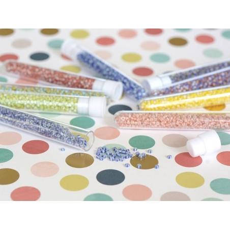 Tube de 350 perles rayées bicolores - bleu marine/blanc