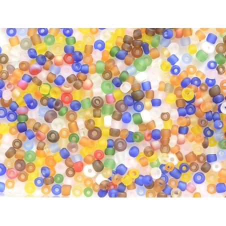 Tube de 350 perles transparentes mattes - multicolore vive