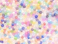 Röhrchen mit 350 durchsichtigen, matten Perlen - mehrfarbig (Pastelltöne)