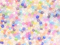 Tube of 350 transparent, matte beads - various colours (pastel colours)