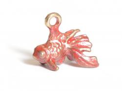 Breloque poisson rouge émaillée