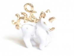 White enamelled unicorn pendant