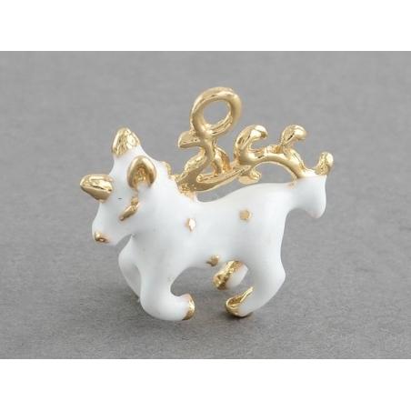 White enamelled unicorn pendant