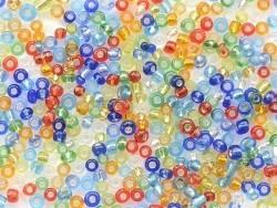 Röhrchen mit 350 Perlen mit silberfarbenen Einschlüssen - bunt