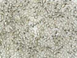 Röhrchen mit 350 Perlen mit silberfarbenen Einschlüssen - grau