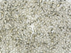 Tube of 350 beads with silver-coloured inclusions - grey