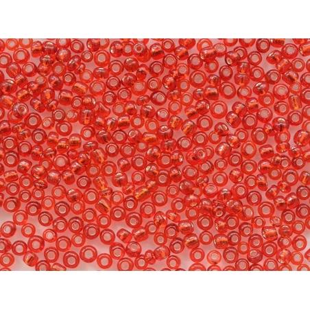 Tube de 350 perles à inclusions argentés - rouge tomate