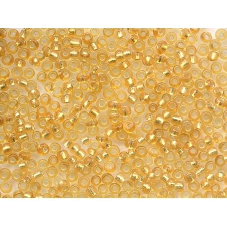 Tube de 350 perles à inclusions argentés - jaune ocre