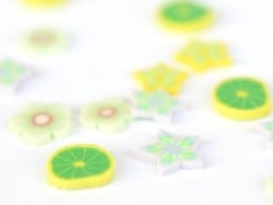 100 polymer clay cane slices - green and white petals