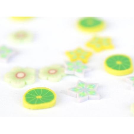 100 tranches en pâte polymère - pétales verts et blancs