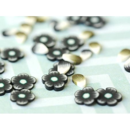 100 polymer clay cane slices - black and white petals