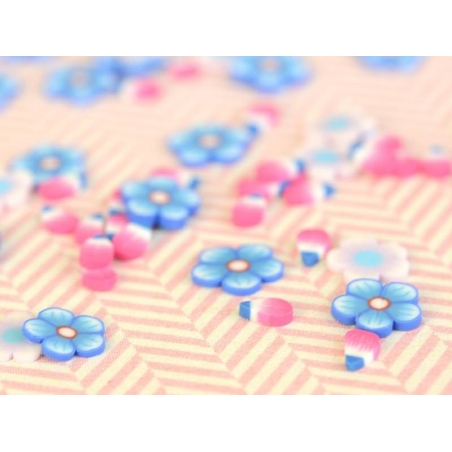100 polymer clay cane slices - blue and pink petals