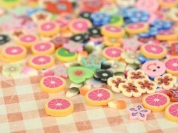 100 polymer clay cane slices - neon pink petals