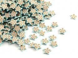 100 tranches en pâte polymère - étoiles oranges et bleu pâle