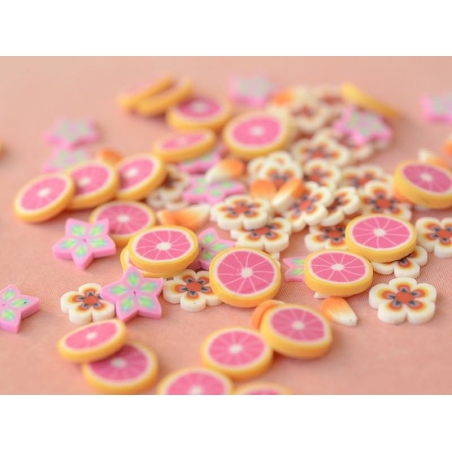 100 polymer clay cane slices - orange and light blue stars